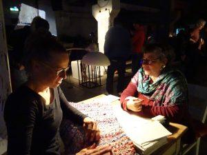 """Unsichtbare Orte"" opening. Dorothea Seror und Kordula Lobeck de Fabris. Foto: Helen Varley Jamieson."